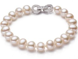 Wholesale South Sea Pearls Rings - Gorgeous 8-9mm south seas white pearl bracelet 7.5-8inch 925 silver clasp