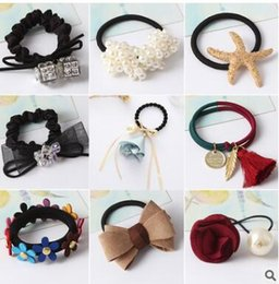 Wholesale Plastic White Hair Band - Mixed mixed batch Hair Rubber Bands pearl flower bowknot rubber bands for girls 52 styles
