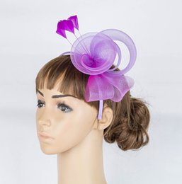 Wholesale Crinoline Hair - Free shipping Multiplel color crinoline fascinator headwear feather colorful mesh church show hair accessories millinery cocktail hat MYQ040