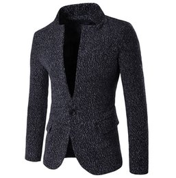 Wholesale Korean Casual Suits For Men - Wholesale- New Fashion Business Casual Woolen Blazer for Men Korean Fashion Clothing casual suit Jackets slim fit unique blaser masculino