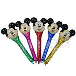 Wholesale Balloon Cheering Stick - 60pcs lot 94*39cm Mixed Mickey Minnie Mouse head foil balloons cheering stick balloon kids birthday decoration baby toys