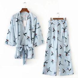 Wholesale Wide Leg Pleated Chiffon Pant - 2017 Autumn Women's Sets Casual Loose Printing Kimono Style 2 Piece Sets Cardigan Wide Leg Pants blue Flower suits