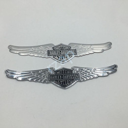 Wholesale 3d Motorcycle Tank - 20pcs lot New Memorial Wings Emblem For Harley Davidson Logo Motorcycle Tank Badge Chrome Metal Sticker