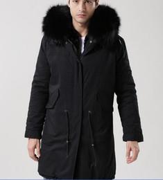 Wholesale Men S Rabbit Fur - 2018 Mr Mrs itlay black rabbit fur lining black men parka MMF rabbit fur lined long jackets