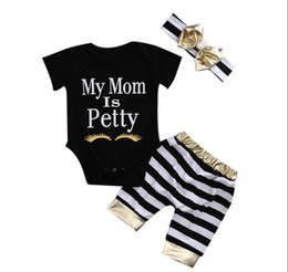 Wholesale Little Girls Outfits - 2017 Little Babies Summer Outfits Bebe Letter Rompers with Striped Pants with Bow headbands Childrens Three-pieces