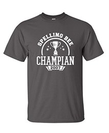 Wholesale Funny Ideas - Spelling Bee Champian 2007 Humor Comedy Gift Idea Guys Mens Very Funny T-Shirt