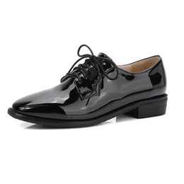 Wholesale England Shoes Women - Fashion Patent Leather Oxfords For Women Elegant Ladies Casual Lace Up Oxford Shoes Vintage England Style Square Toe Women Flats