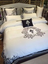 Wholesale Bedsheets Queen Size - Wholesale-4PCS 100% Cotton bedsheets 5 star luxury hotel bedding set Full size bed set queen king duvet cover white color bed linen