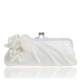 Wholesale Ivory Black Satin Evening Bag - Wholesale-2015 New 3D Flower Silk Elegant Evening Bag Lady Three-dimensional Flower Satin Bridal Wedding Purse Party Messenger ClutchXA91L