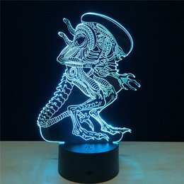 Wholesale Lamparas Diy - Wholesale- 3D LED Alien vs Predator Lighting Mood Lamp 7 Colors Changing Lamparas with USB Cable