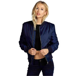 Wholesale Cool Winter Jackets Women - Wholesale- SIF 2016 Autumn Winter Women Warm Basic Coats Bomber Jackets Cool Quilted Long Sleeve Slim Jacket Casual Padded Short Outwear