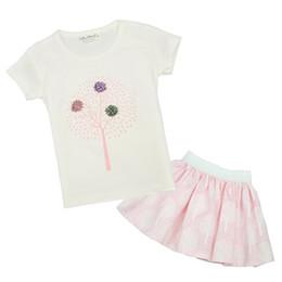 Wholesale Baby Plain Shirt - Cielarko Baby Girls Flower Clothing Set Kids Girl Cotton Plain Shirts Fancy Skirt Set Summer Children Casual Tracksuits 2 to 5 Years