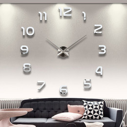 дома большие часы Скидка Wholesale-Home Decoration Big Number Mirror Wall Clock Modern Design Large Designer Wall Clock 3D Watch Wall Unique Gifts 1611371