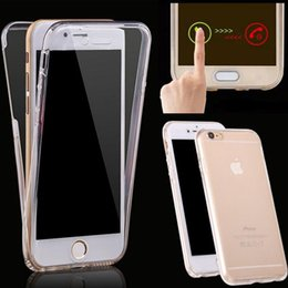 Wholesale Phone Clear Full Case - For Samsung s8 360 Degree Full Body Front Back Soft TPU case For phone 7 7 Plus 6s Transparent Clear Touch Skin Cover