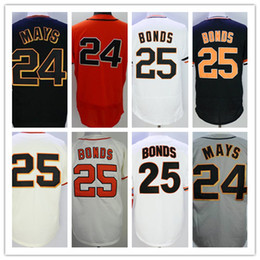 Wholesale Browns Throwback Jerseys - 25 Barry Bonds 24 Willie Mays Jersey Cool Base Flexbase Retro Throwback San Francisco Baseball Jerseys 1989 White Grey Orange Cream