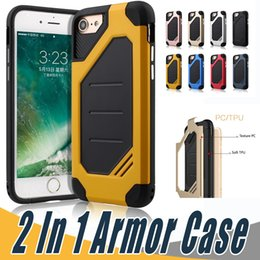 Wholesale Armor Cellphone - 2 in 1 Hard PC TPU Anti-Fall Protection Case Shockproof Cellphone Cover Armor Cases For Xiaomi Red Mi 4 4A 3S 3X Prime Note 3 4 4X 6
