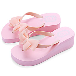 Wholesale Beach Wedge Sandals Flip Flops - PP FASHION Summer Pure Color Ladies Flat Wedge Bowknot Beach Slippers Casual Sandals