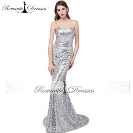 Wholesale Sliver Strapless Mermaid Dress - Sequined Evening Dresses Mermaid Blingbling Sliver Red Black Gold Colors Cheap China Prom Dresses Women Gowns M88