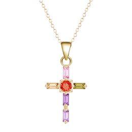 Wholesale Brass Jesus - 10pcs lot 18K Gold Necklace For Women Fashion Jewelry Women Luxury Jesus Cross Inlaid Colorful Clear Zircon Pendants Necklaces