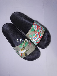 Wholesale Green Pink Tie - hotsale 2017 mens fashion print leather slide sandals summer outdoor beach causal slipper for mens size euro40-45