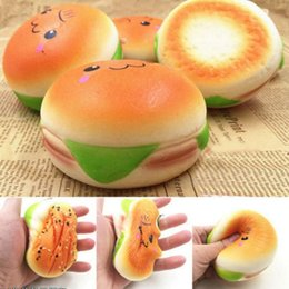 Wholesale cute cell charms - 10cm Cute Jumbo Soft Squishy Smile Hamburger Charms Slow Rising Kawii Kids Toy Emoji Phone Straps For Cell Phone Decoration OOA2757