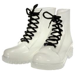 Wholesale Transparent Ankle Rain Boots - Wholesale-New Fashion Womens Rain Boots Candy Transparent Low Heels Water Shoes Female Lace-up Retro Knight Rain Ankle Boots Women Shoes