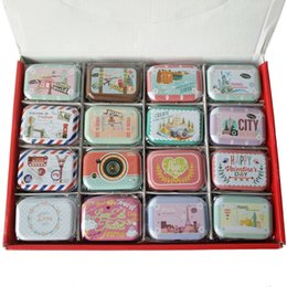 Wholesale Vintage Metal Candy Tins - Free shipping 32pcs set New vintage small cake series quality iron case   storage case   tin box   32 pcs lot