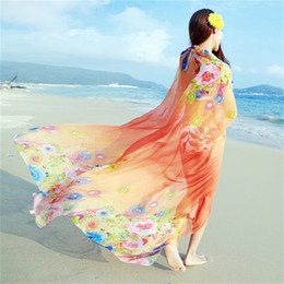 Wholesale Long Scarves For Summer - Designer scarfs for women spring autumn ultra-long scarf print shawl air-conditioning scarves summer sunscreen beach towel chiffon scarf thi
