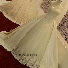 Wholesale Over Corset - Vintage Lace Ball Gown Wedding Dresses With Over Skirts Sweetheart Corset Court Train Beads Satin Puffy Bridal Gowns 2017 Plus Size Custom