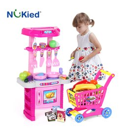 Wholesale Pretend Foods - Kids Classic Kitchen Cooking Simulation Toys Cutting Food Set Model With Light Sound Happy Pretend Play Tableware Sets