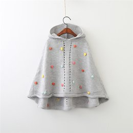 Wholesale Infant Baby Girl Outwear - Kids Girls Knit Poncho 2-7Year Baby Girls Pom Pom Hooded Coat Infant Girl Gray Jackets Princess Outwear 2017 Children Clothing Wholesale D34