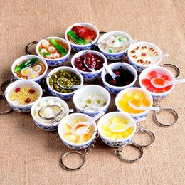 Wholesale Simulation Food - Chinese Blue And White Porcelain Food Bowl Mini Bag Pendant Simulation Food Key Chains Noodle Creative Keychain Women Jewelry H-6