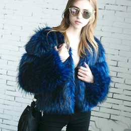 Wholesale Blue Fox Fur Xl - New Style Oversized Faux Fur Jacket Shaggy Unreal Fox Fur Parka Coat Long Sleeve V-Neck Boy Friend Outwear S-3XL Black Blue