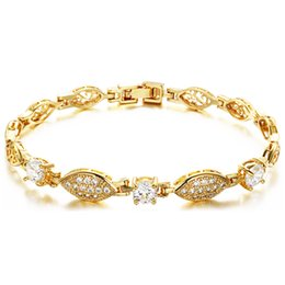 Wholesale Rhinestone Lips Charms - Sexy Lips Design Women Bracelets Fashion Romantic Gold Plated Jewelry With AAA+ Cubic Zircon Link Chain GKS444