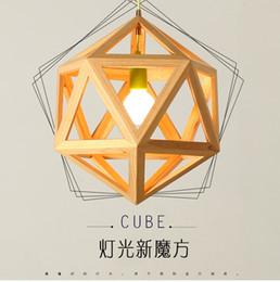 Simple Minimalist Art Restaurant Lighting Coffee Study Bedroom Wooden Wood Abajur Light Christmas Cube Pendant Light For Home
