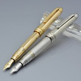 Wholesale gold silver fountain pen - 11.5 cm mini gold   silver mb fountain pen with cute laser carving school Office supplies writing smooth luxury brand ink pens with ink sac.