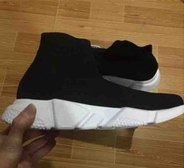 Wholesale Booties Shoes For Men - NEW Sock Booties Black White Speed Trainer Running Shoes for Men & Women Speed Knit Sock Mid-Top Casual Sneakers