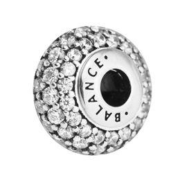 Essenz sterling silber armband online-Pandulaso Essence BALANCE Klar CZ Charms Für Pandora Essence Armband Sterling Silber Schmuck Charms für Frau DIY Perlen 2.5mm Loch