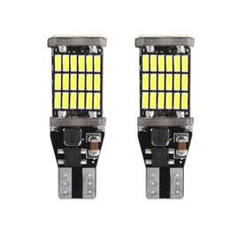 Wholesale Led License Plate Light - T15 W16W High Quality 45 SMD 4014 LED CANBUS NO ERROR Car Tail Bulb Brake Light Auto Backup Reverse Lamp xenon white DC12V