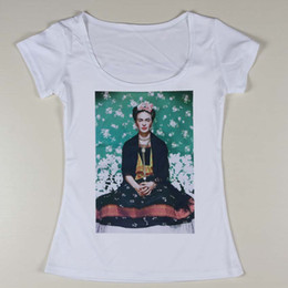 Wholesale Designer Fashion Ladies T Shirt - Wholesale-Hot Sale Women Frida Kahlo Pattern Printing T Shirts Slim Fit Female Short Sleeve Tee Shirt Ladies Sexy t-shirt Designer