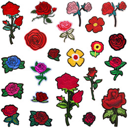 Wholesale Sewing Applique Patch - 22pcs set Rose Flower Embroidered Patches Sewing Iron On Applique For Cloth Badge Motif