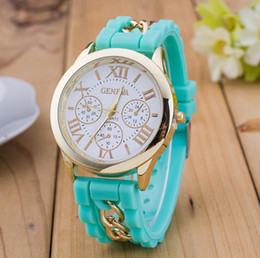 Wholesale Geneva Chain Watches - Newest Numerals Roma Geneva Stainless Steel Watch Silicone Chain Band Quartz watches Women Geneva Crystal Watches Gold Wristwatch