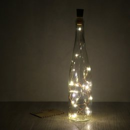 Wholesale Valentine Crafts - 2m 6.5ft 20-LED Copper Wire String Light with Bottle Stopper for Glass Craft Bottle Fairy Lamp Valentines Wedding Party Xmas