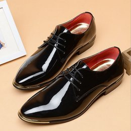 Wholesale Mens Wedding Shoes Patent Leather - HOT Big 38 -46 2016 Men glossy dress shoes white flat wedding shoes patent leather loafers mens brand oxfords shoes for men S63