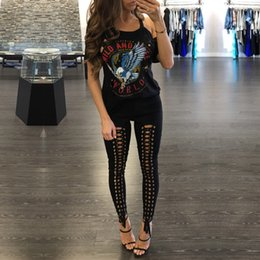 Wholesale White Ripped Leggings - 2017 New Fashion Women Black Sexy Bodycon Slim Pant Hollow Out Stylish Cross Lace Up Legging Femme Pants Ripped Hole Sexy Party Legging