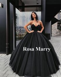 weißgold indische kleider Rabatt Gothic Schwarz Ballkleid Brautkleider 2020 Schatz Korsett Zurück Rot Tüll Arabisch Dubai Maskerade Vestido De Novia Brautkleider Günstige