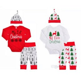 Wholesale 18 Month Onesies Boy - 2017 Christmas Baby Rompers Clothing Sets Boys Girls Toddler Romper Pants Caps 3Pcs Santa Autumn Infant Onesies Boutique Clothes Outfits