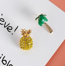 Wholesale Designer Jewelry Earrings - 925 silver needle fruit pineapple coconut tree Stud Earrings Cute Lovely asymmetric Fashion Women Designer Ladies Dangle Bridal Jewelry