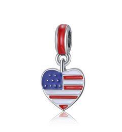 Wholesale Pandora Star Necklace - Stars Stripes 30pcs Silver Enamel US Heart Flag Dangle European Charm Beads Fit Pandora Style Bracelet Necklace Pendant DIY Original Jewelry