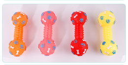Wholesale Pet Dumbbell - 3 pcs Free Shipping Dog Toys Bone scratch Dumbbell Chewing Bone Shaped Dog Toys Squeeze Squeaky Rubber Faux Bone Pet Chew Toys For Dogs